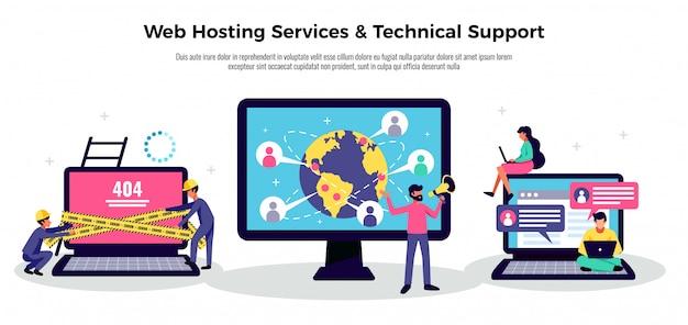 Manifesto dell'applicazione mobile con l'illustrazione piana di simboli di servizi di web hosting