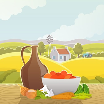 Manifesto dell'illustrazione dell'estratto del paesaggio rurale