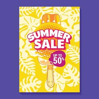 Manifesto dell'illustrazione di vendita di estate con il fondo delle foglie del ghiacciolo, della spiaggia e tropicale