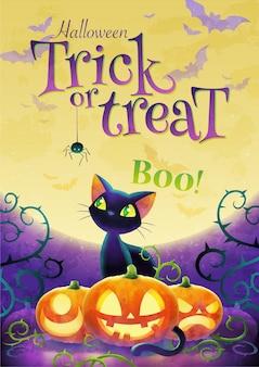 Manifesto dell'invito dolcetto o scherzetto di halloween con il gatto nero del fumetto e la zucca del fronte sui precedenti della luna piena