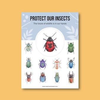 Manifesto dell'uccello e dell'insetto con l'illustrazione dell'acquerello di vari scarabei.
