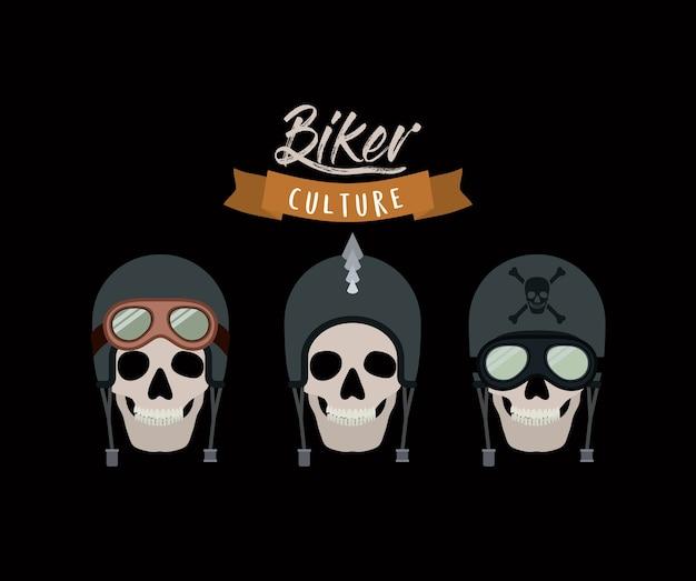 Manifesto della coltura del motociclista con i motociclisti dei teschi