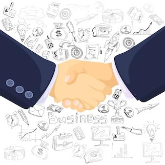 Manifesto della composizione nelle icone di concetto di associazione di affari
