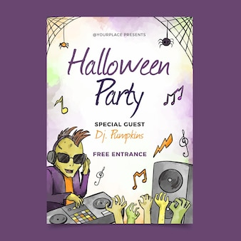 Manifesto della festa di halloween dell'acquerello