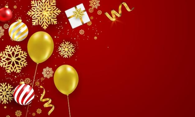 Manifesto della festa di natale e fondo rosso del buon anno.