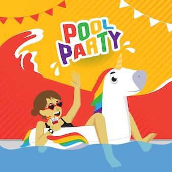 Manifesto della festa in piscina con la ragazza sull'unicorno gonfiabile