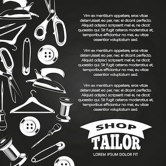 Manifesto della lavagna del negozio di sarto