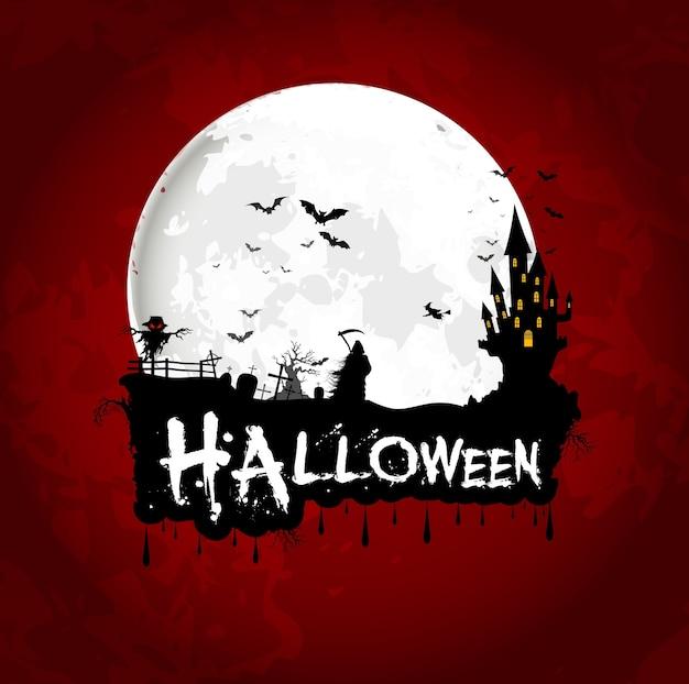 Manifesto della priorità bassa di halloween sulla luna piena
