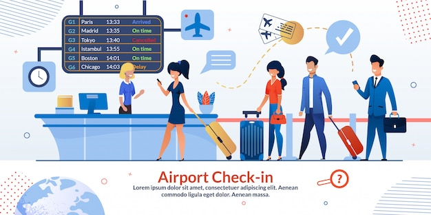 Manifesto della reception e dei turisti per il check-in all'aeroporto
