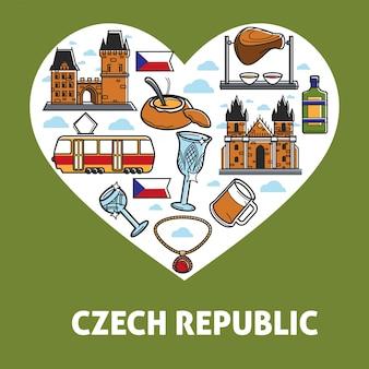 Manifesto della repubblica ceca di simboli turistici per icone di attrazione di viaggio