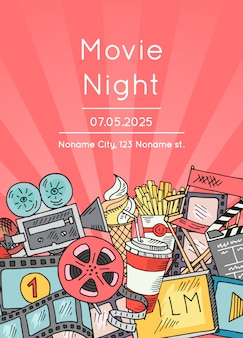 Manifesto delle icone di doodle del cinema per la notte o il festival di film