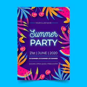 Manifesto design piatto festa estiva al neon