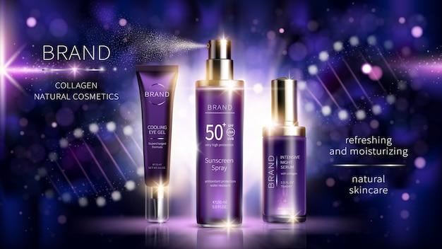 Manifesto di annunci realistici di cosmetici al collagene