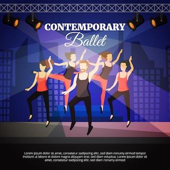 Manifesto di balletto contemporaneo con gente che balla e palcoscenico