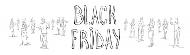 Manifesto di black friday poster with sketch people gruppo silhouette orizzontale