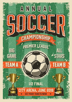 Manifesto di calcio tipografico stile vintage grunge