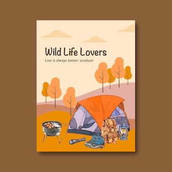 Manifesto di campeggio con l'illustrazione della lanterna, dello zaino e della tenda