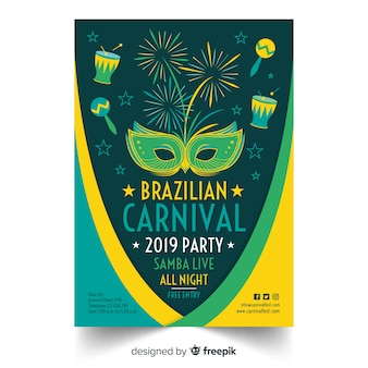 Manifesto di carnevale brasiliano fuochi d'artificio