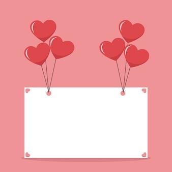 Manifesto di carta bella valentines con palloncini cuori