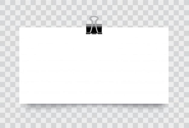 Manifesto di carta bianco bianco realistico di vettore che appende su una corda