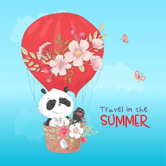 Manifesto di cartolina di un panda carino in un palloncino con fiori in stile cartone animato.