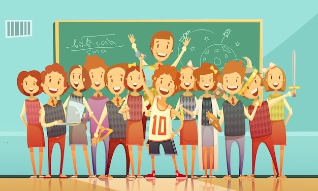 Manifesto di cartone animato classico aula di educazione scuola retrò con bambini sorridenti in piedi
