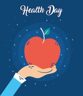 Manifesto di celebrazione del giorno di salute con la mela