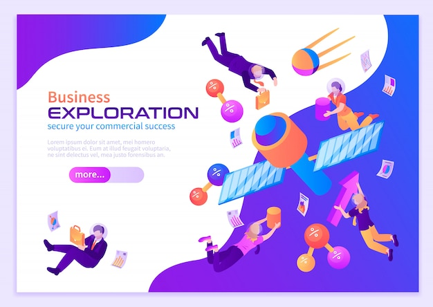 Manifesto di colore di esplorazione di affari con la gente che vola nello spazio vicino ai satelliti in gravità zero isometrica