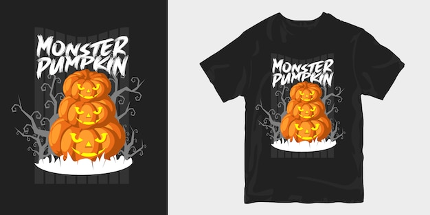 Manifesto di disegno della maglietta raccapricciante di halloween della zucca del mostro