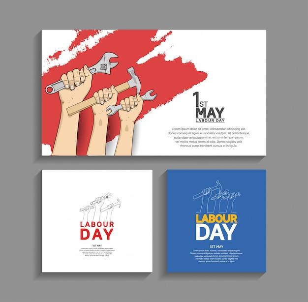 Manifesto di disegno di vettore di festa del lavoro