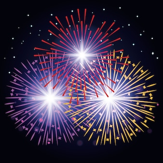 Manifesto di esplosioni di fuochi d'artificio decorativi