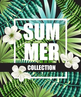 Manifesto di estate collezione verde con fiori e foglie tropicali sullo sfondo.