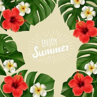 Manifesto di estate con fiori tropicali e foglie di monstera, foglie di palma di piante tropicali isolati su sfondo nero con scritte a mano. estate sfondo tropicale. illustrazione eps10