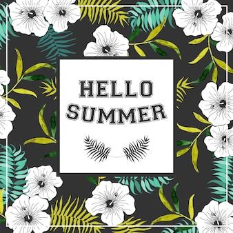 Manifesto di estate con fiori tropicali.