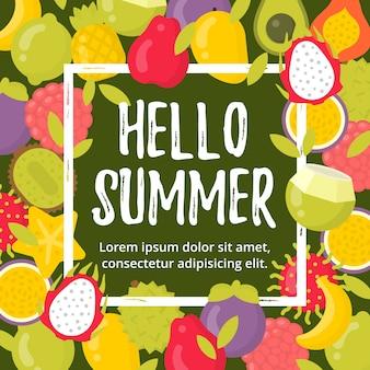 Manifesto di estate con frutti tropicali e scritte