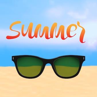 Manifesto di estate con iscrizione e spiaggia con occhiali da sole