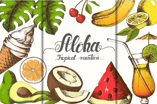 Manifesto di estate con oggetti estivi disegnati a mano.
