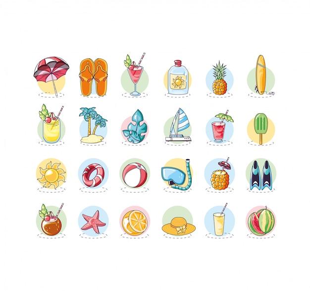 Manifesto di estate con set di icone di vacanza