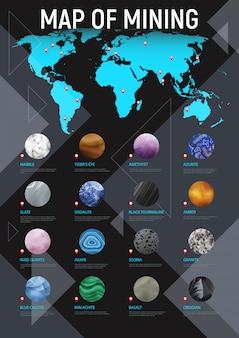 Manifesto di estrazione mineraria della mappa di pietra realistica con la mappa del titolo di estrazione mineraria e l'illustrazione stabilita dell'icona di pietra rotonda differente