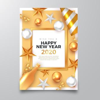Manifesto di felice anno nuovo 2020 con realistiche decorazioni dorate