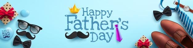 Manifesto di festa del papà felice o modello dell'insegna con la cravatta, i vetri e il contenitore di regalo sul blu