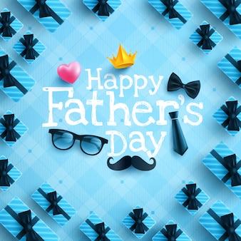 Manifesto di festa del papà felice o modello dell'insegna con la cravatta, i vetri e il cuore sul blu