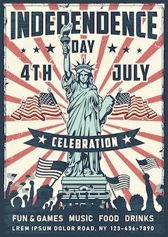 Manifesto di festa dell'indipendenza con la statua