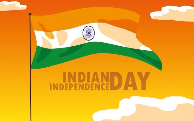 Manifesto di festa dell'indipendenza indiana con bandiera