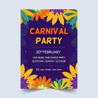 Manifesto di festa di carnevale disegnato a mano