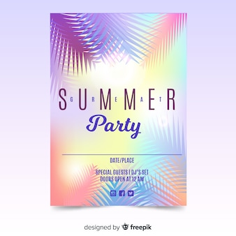 Manifesto di festa estiva piatta