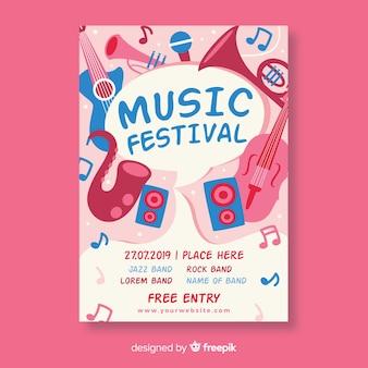 Manifesto di festival di musica di strumenti disegnati a mano