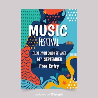 Manifesto di festival di musica disegnato a mano astratto
