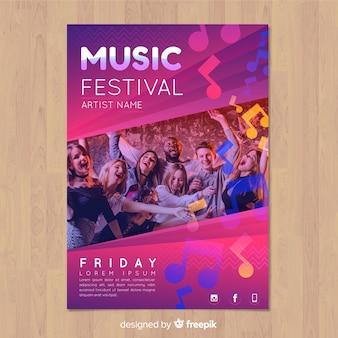 Manifesto di festival di musica gradiente colorato con immagine