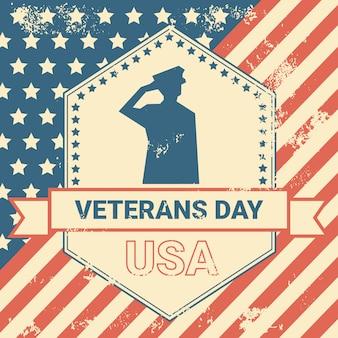 Manifesto di giornata dei veterani con noi soldato militare sul fondo della bandiera di usa di lerciume